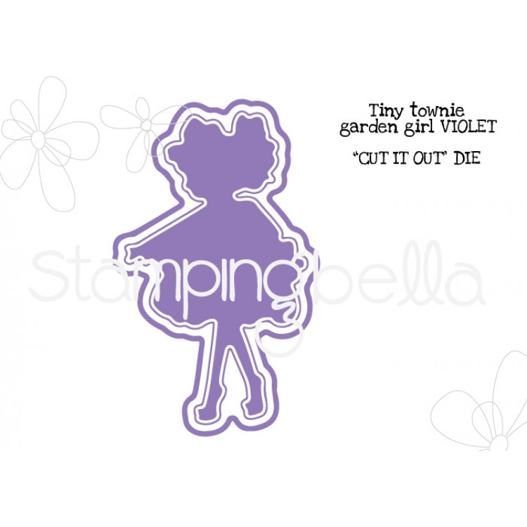 Stamping Bella - Tiny Townie garden girl Violet CUT IT OUT DIE