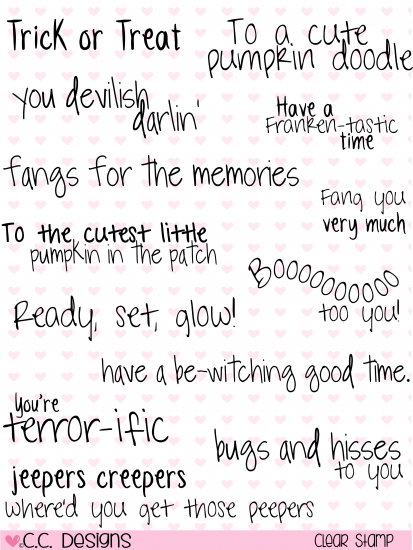 C.C. Designs Halloween Giggles Sentiments Clear Stamp