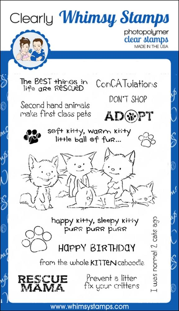 Whimsy Stamps - Adopt Don't Shop CATS Clear Stamps
