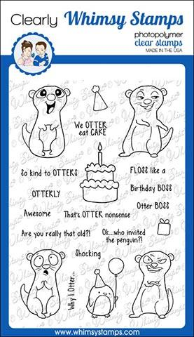 Whimsy Stamps - Birthday Otters Clear Stamps