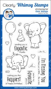 Whimsy Stamps - Sketched Elephants - Clear Stamps