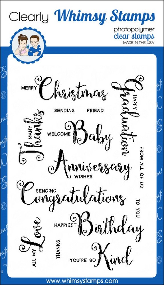 Whimsy Stamps - Scripty Occasions - Clear Stamps