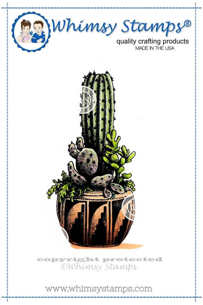 SP Designs - DoveArt Studios Tall Cactus Rubber Stamp
