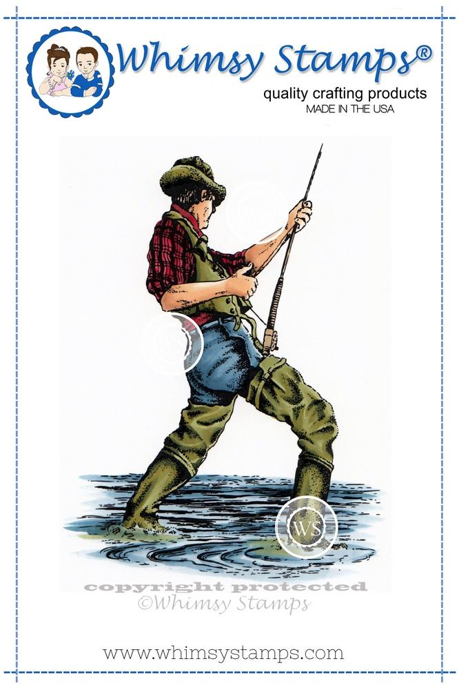 *NEW* - Whimsy Stamps - Fisherman