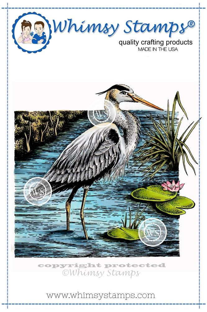 *NEW* - Whimsy Stamps - Great Blue Heron