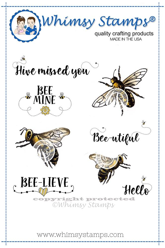 ###Whimsy Stamps - Bee-utiful Bees Rubber Cling Stamp