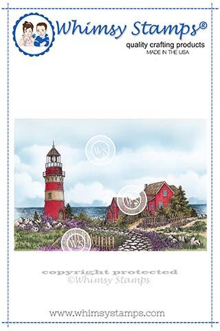###Whimsy Stamps - Beach Lighthouse Rubber Cling Stamp