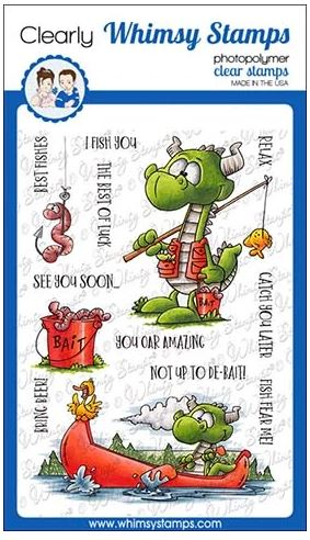 Whimsy Stamps - Fishing Dragons Clear Stamps