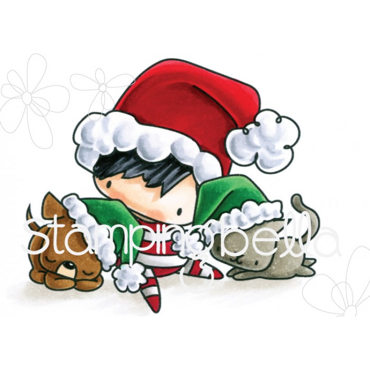 *PRE-ORDER* - Stamping Bella - the littles CHRISTMAS COLLECTION CHRISTMAS BOY WITH PETS