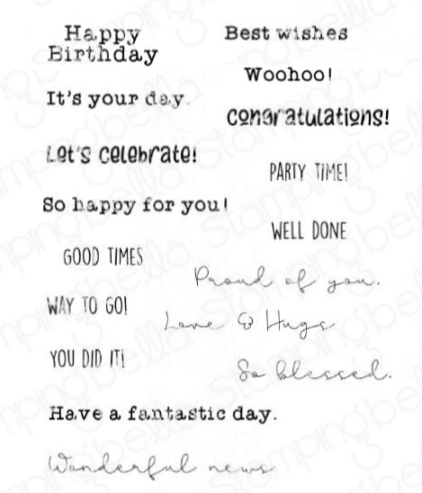 Stamping Bella - CELEBRATE AND CONGRATULATE SENTIMENT SET