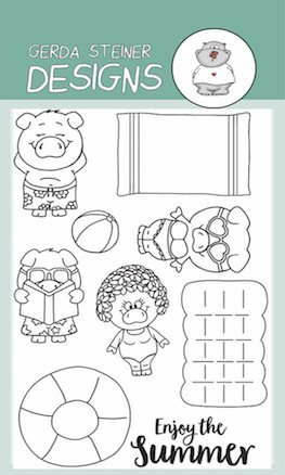 *OFFER OF THE WEEK* - Gerda Steiner - Pool Piggies 4x6 Clear Stamp Set PLUS MATCHING DIE