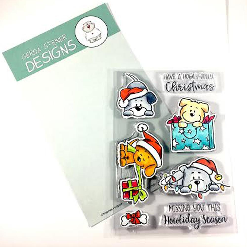 Gerda Steiner - Christmas Puppies 4x6 Clear Stamp Set