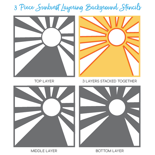 Honey Bee Stamps - Sunburst Layering Background Stencils | Set of 3