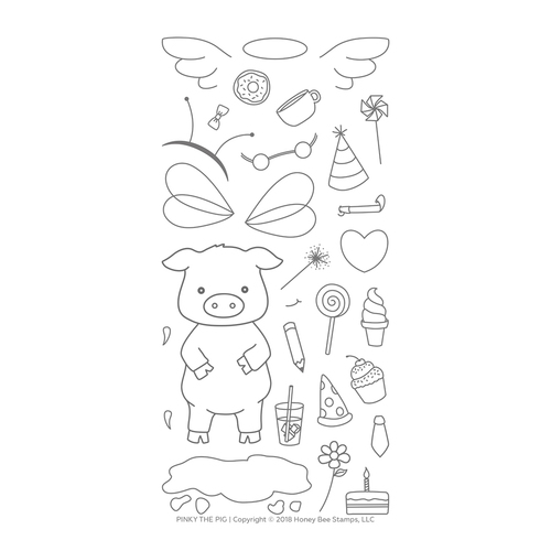 *NEW* - Honey Bee - Pinky The Pig | 4x8 Stamp Set
