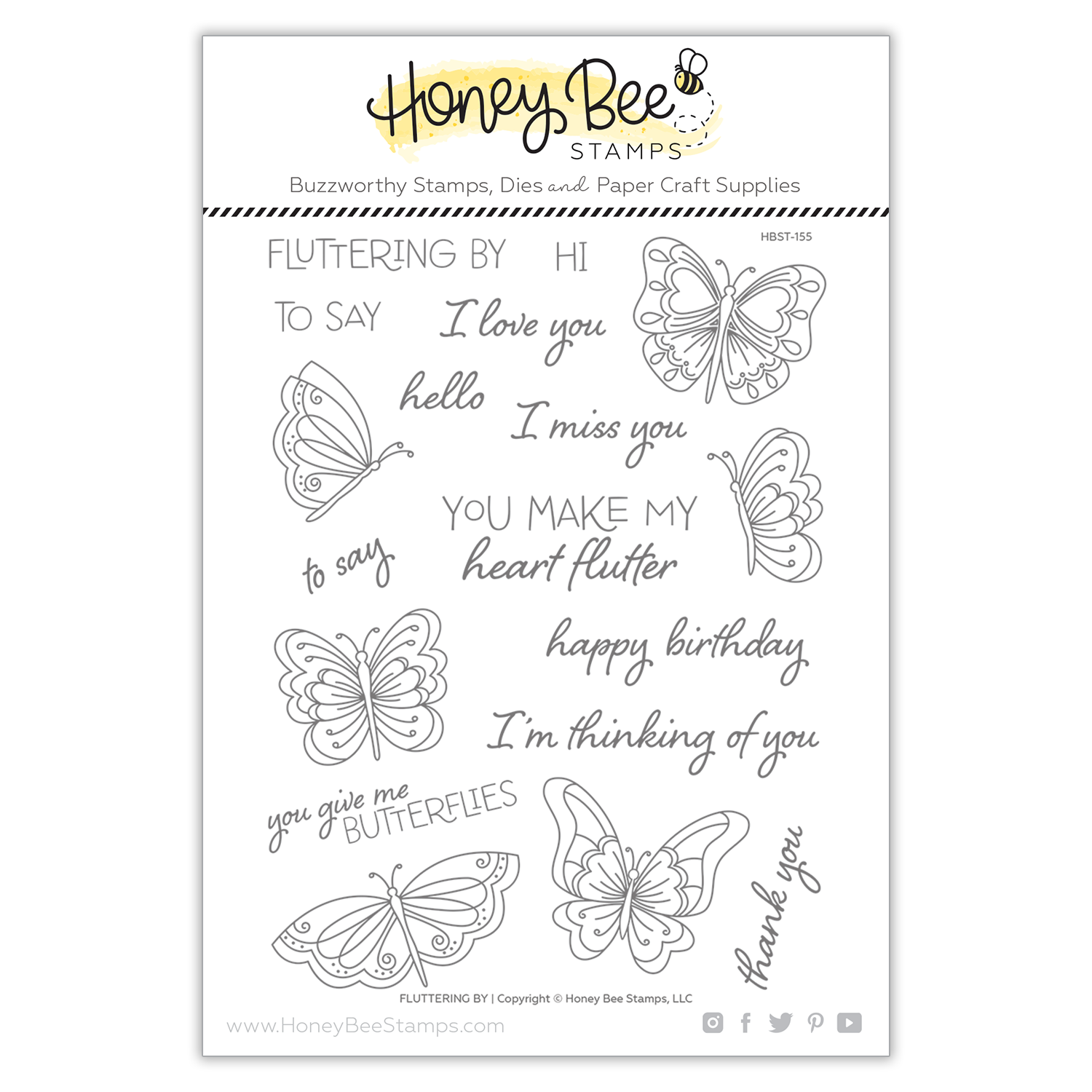 Honey Bee - Fluttering By | 6x8 Stamp Set
