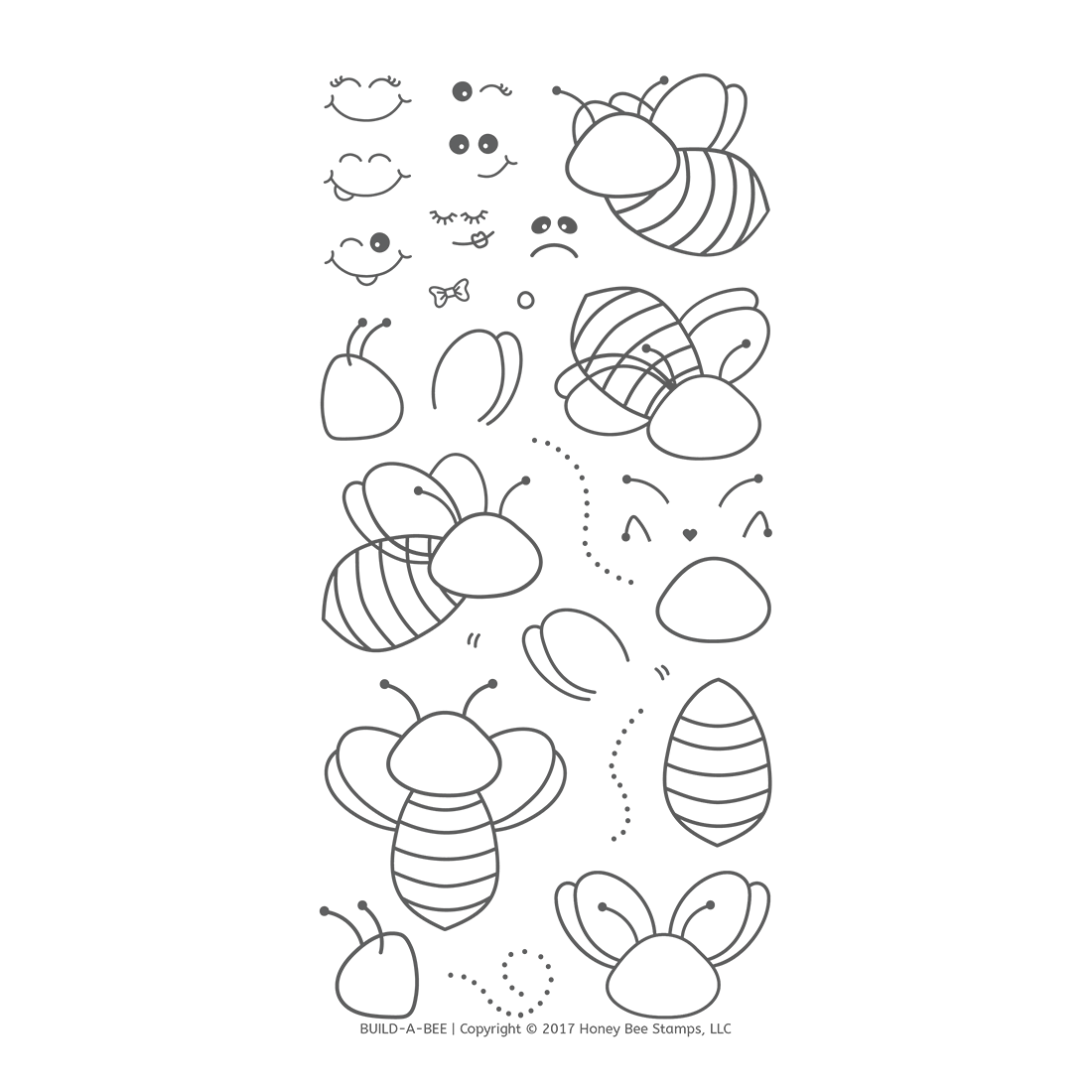Honeybee Bee Stamps - Build-A-Bee | 4x8 Stamp Set