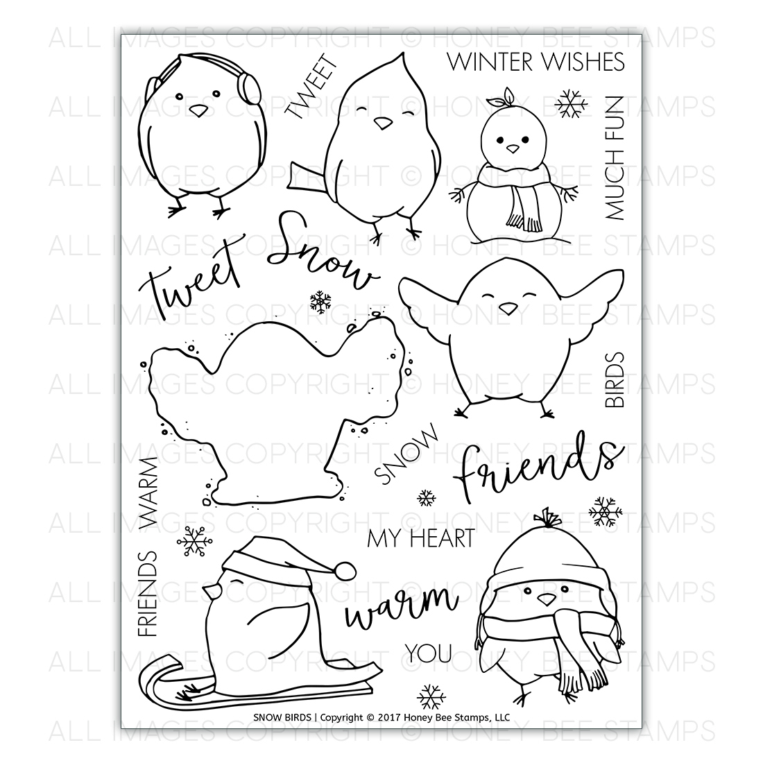 Honey Bee Stamps - Snow Birds | 6x8 Stamp Set