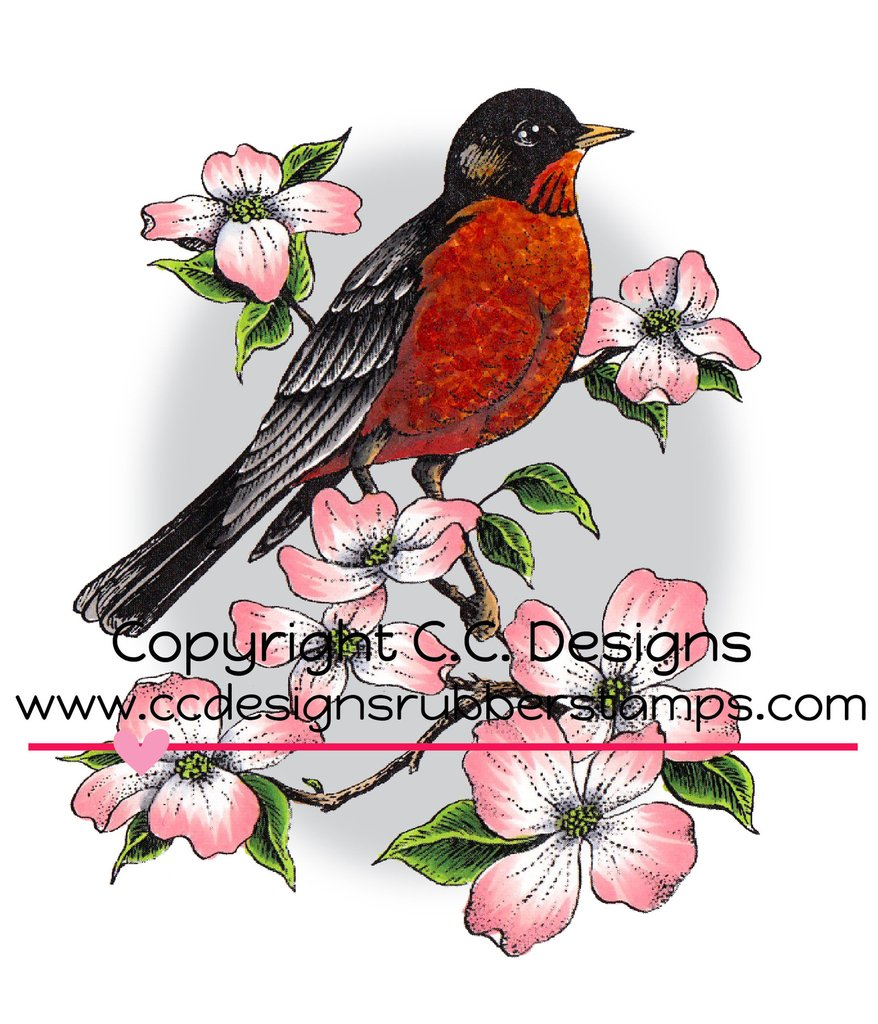 *NEW* - CC Designs - DoveArt Studios Robin On A Branch Rubber Stamp