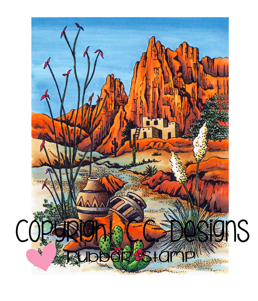 *NEW* - CC Designs - DoveArt Studios Southwest Mountain Rubber Stamp