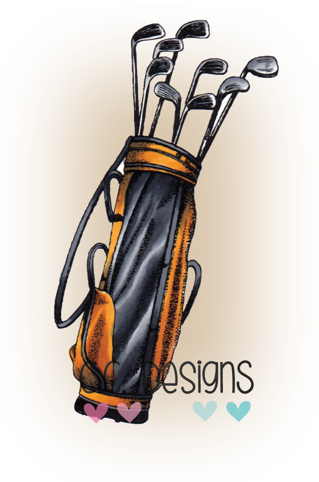 *NEW* - CC Designs - DoveArt Studios Golf Clubs Rubber Stamp