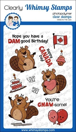 Whimsy Stamps - Beaver Birthday Clear Stamps