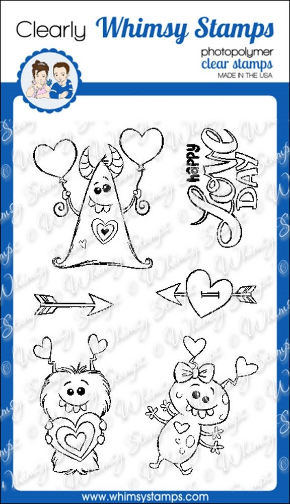 Whimsy Stamps - Love Day Monsters - Clear Stamps