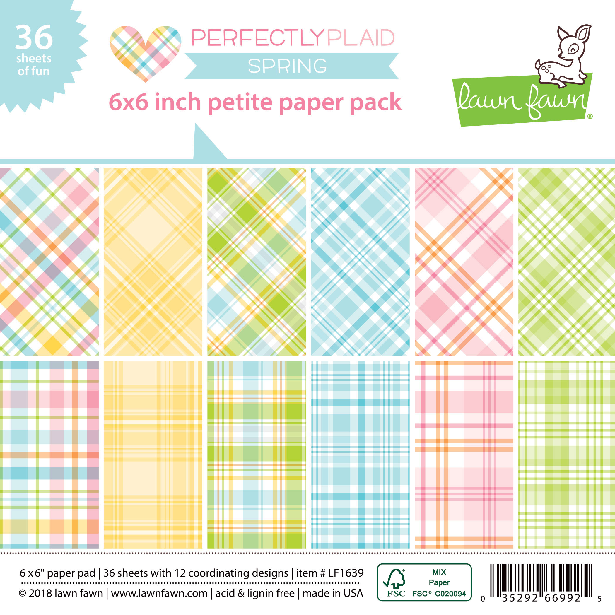 Lawn Fawn - perfectly plaid spring petite paper pack