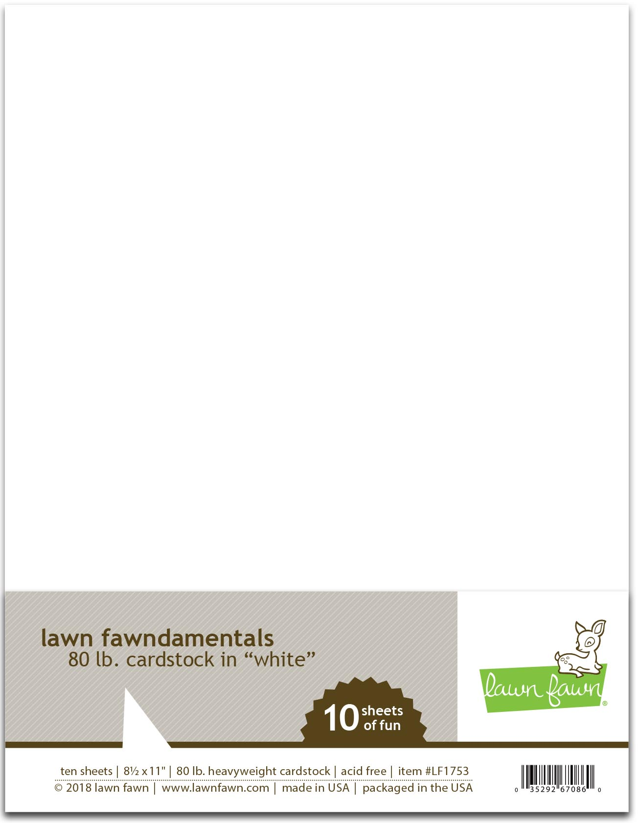Lawn Fawn - 80 lb. cardstock - white
