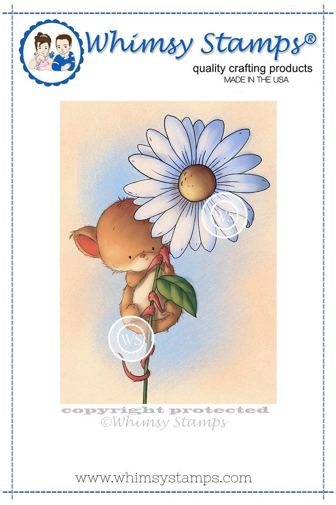 Whimsy Stamps - Mouse on Flower - Lee Holland Collection