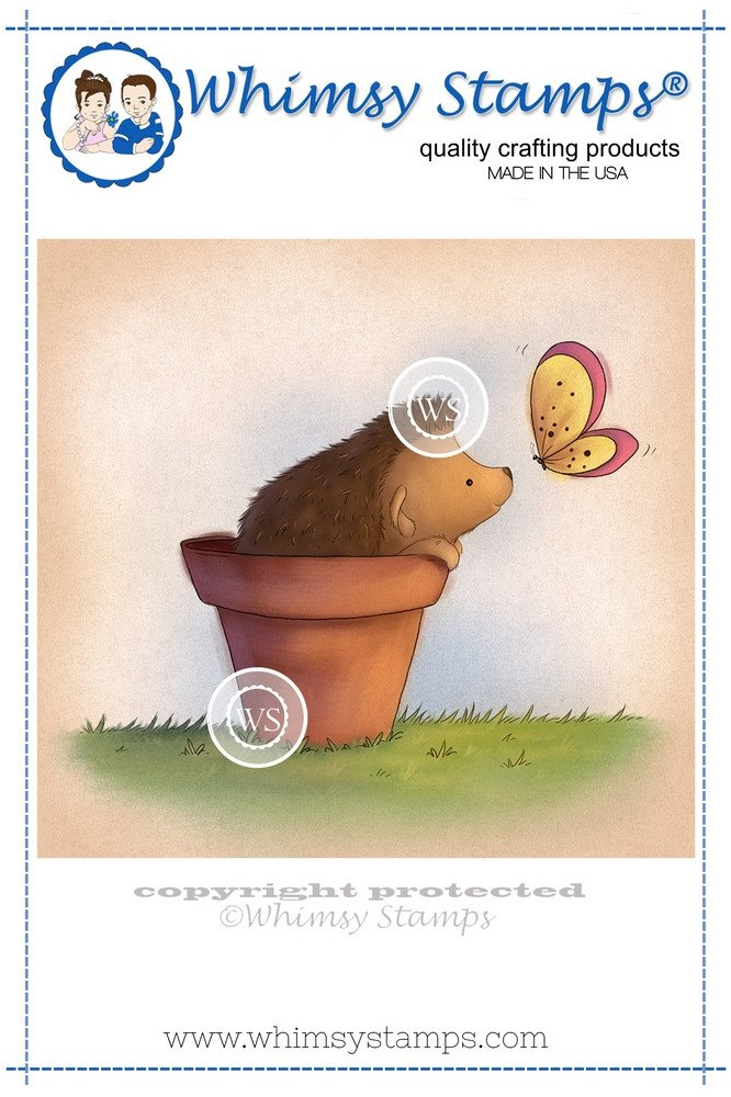 #Whimsy Stamps - Hedgehog in Pot - Lee Holland Collection