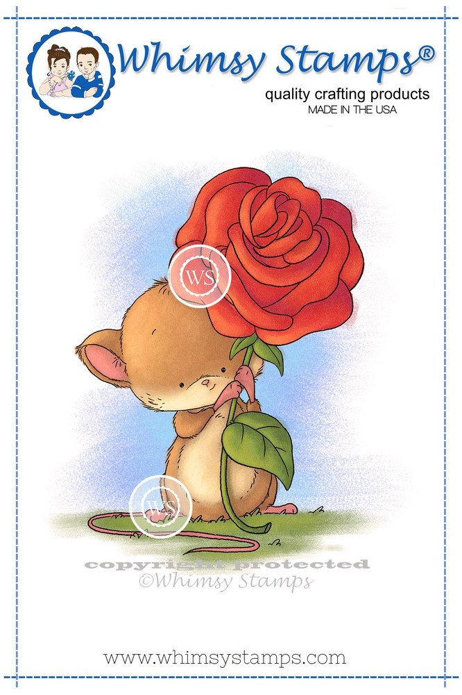 Whimsy Stamps - Mouse with Rose - Lee Holland Collection