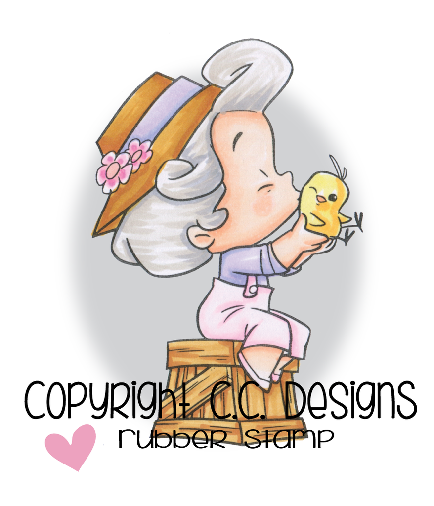 CC Designs - Roberto's Rascals Chicky Girl Rubber Stamp