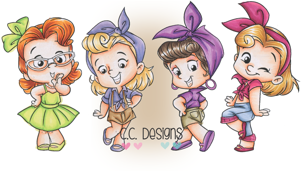CC Designs - Roberto's Rascals Rockabilly Gals Rubber Stamp
