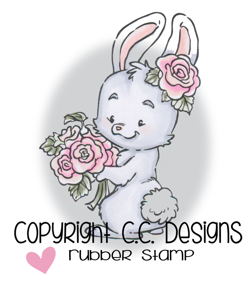 *NEW* - CC Designs - Rustic Sugar Rose Bunny Rubber Stamp