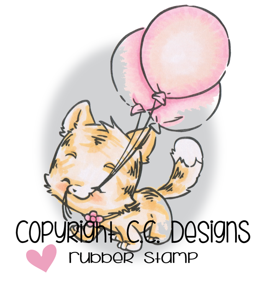 CC Designs - Rustic Sugar 3 Balloons Kitty Rubber Stamp