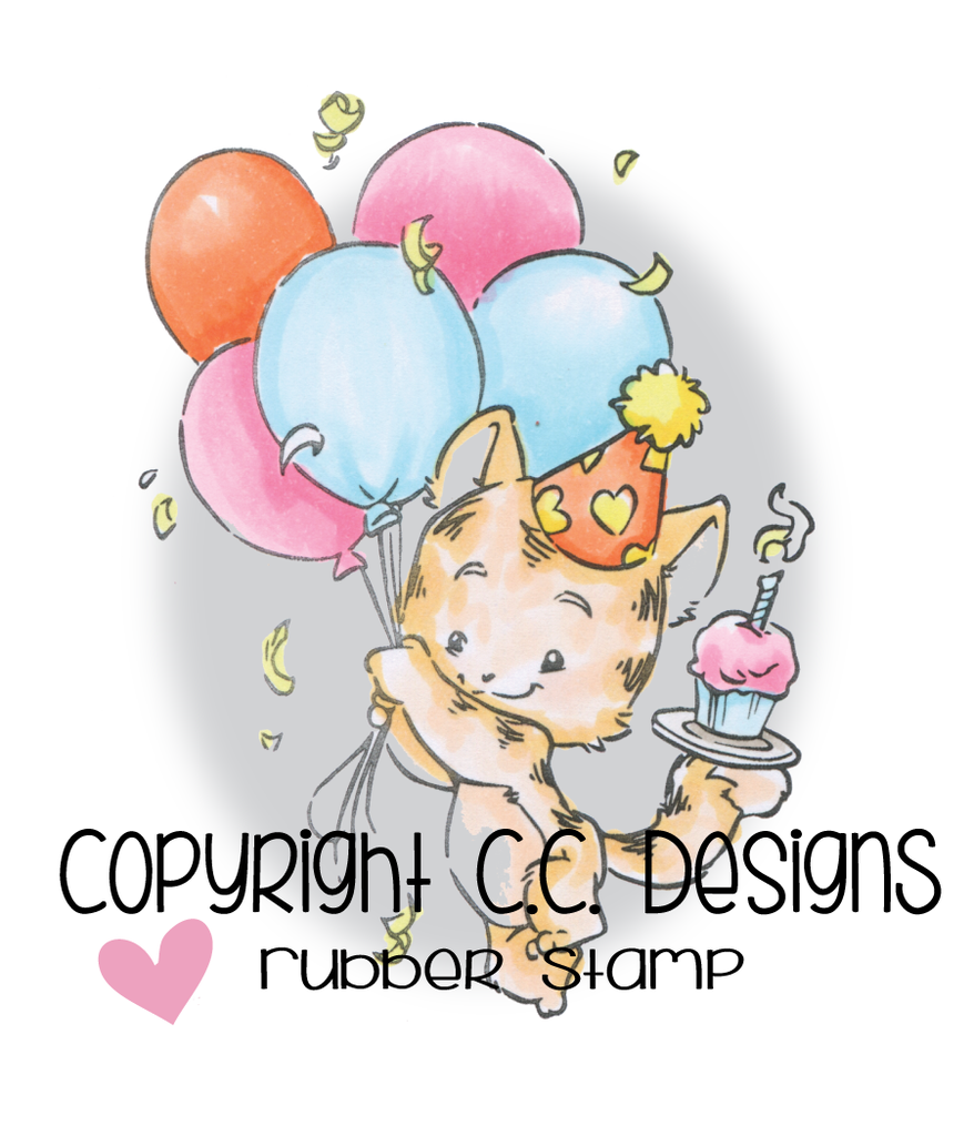 CC Designs - Rustic Sugar Party Kitty Rubber Stamp