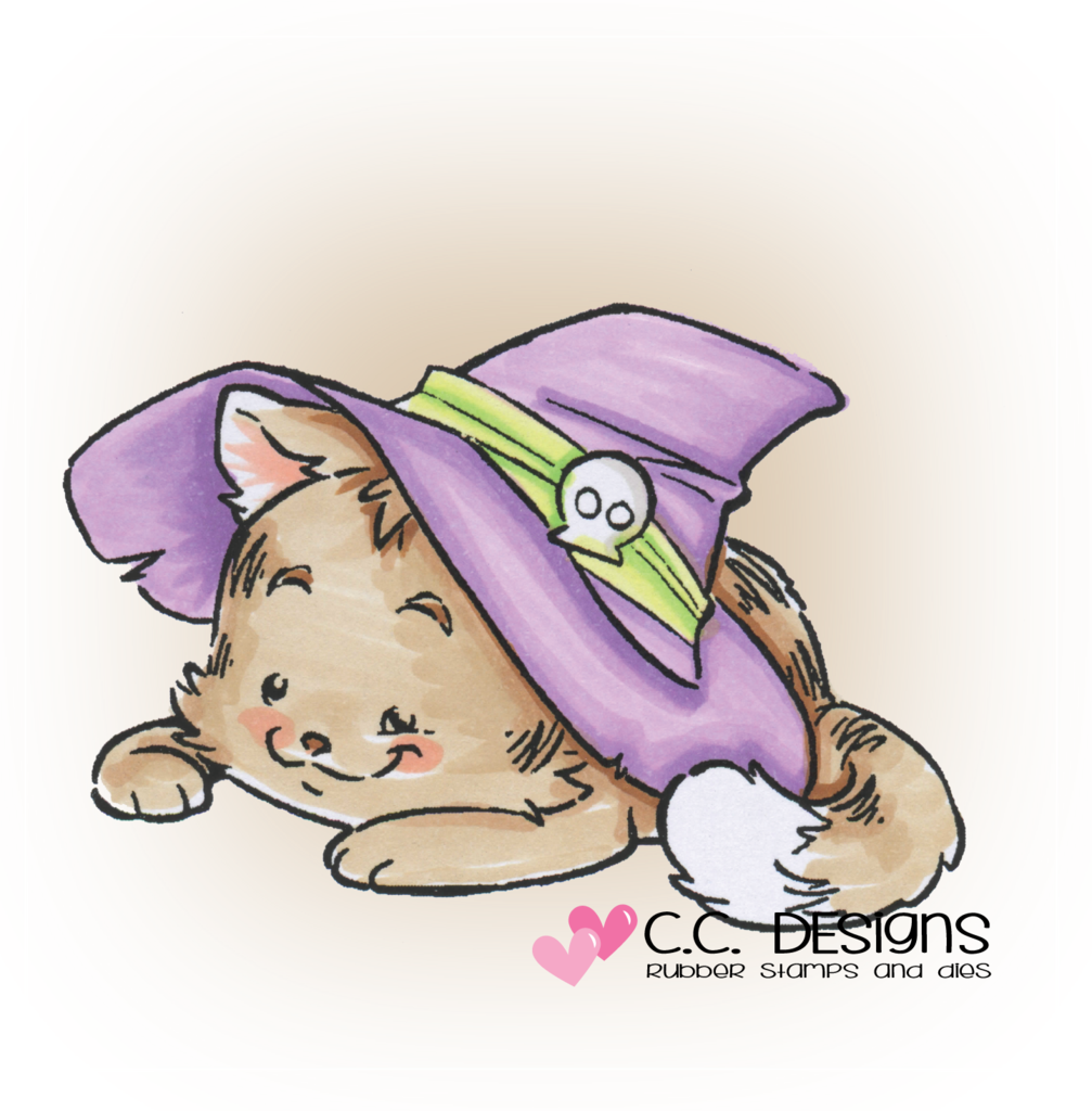CC Designs - Rustic Sugar Witch Kitty Rubber Stamp