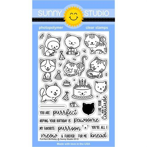 *NEW* - Sunny Studio - Purrfect Birthday Stamps