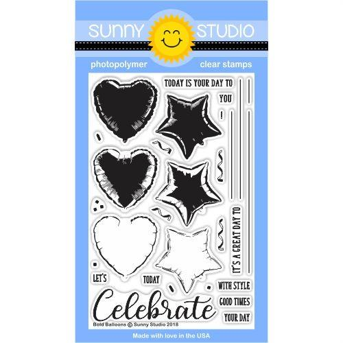 Sunny Studio - Bold Balloons Stamps