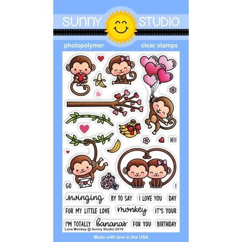 *NEW* - Sunny Studio - Love Monkey Stamps