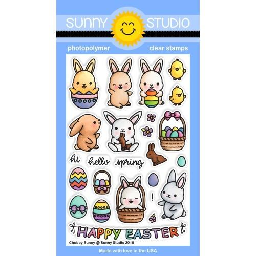 Sunny Studio - Chubby Bunny Stamps WITH MATCHING DIE