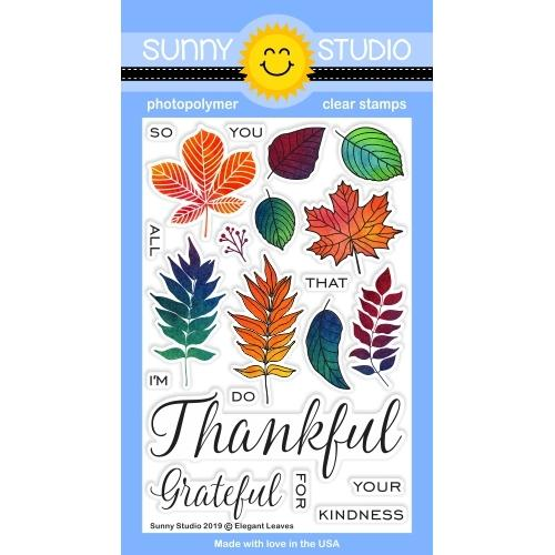 *NEW* - Sunny Studio - Elegant Leaves Stamps