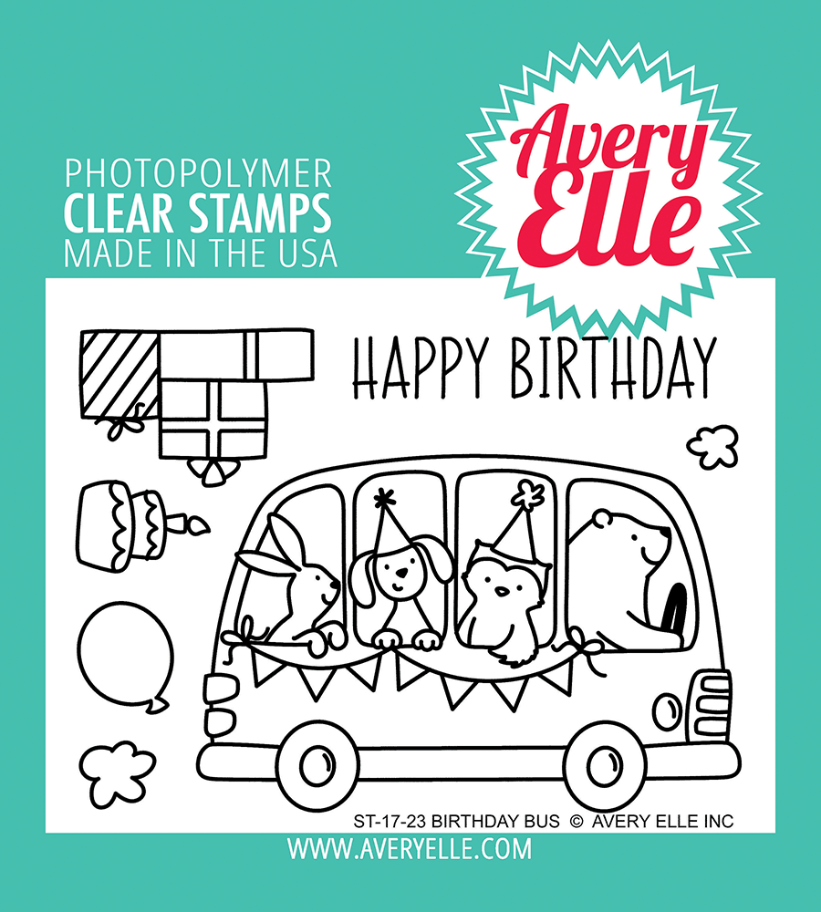 Avery Elle - Birthday Bus Clear Stamps