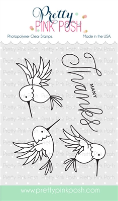 Pretty Pink Posh - Hummingbird Thanks stamp set