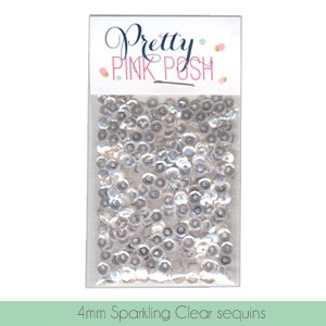 Pretty Pink Posh - 4mm Sparkling Clear Sequins