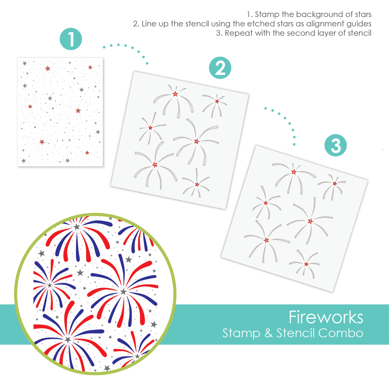 *NEW* - Taylored Expression - FIREWORKS STAMP & STENCIL COMBO