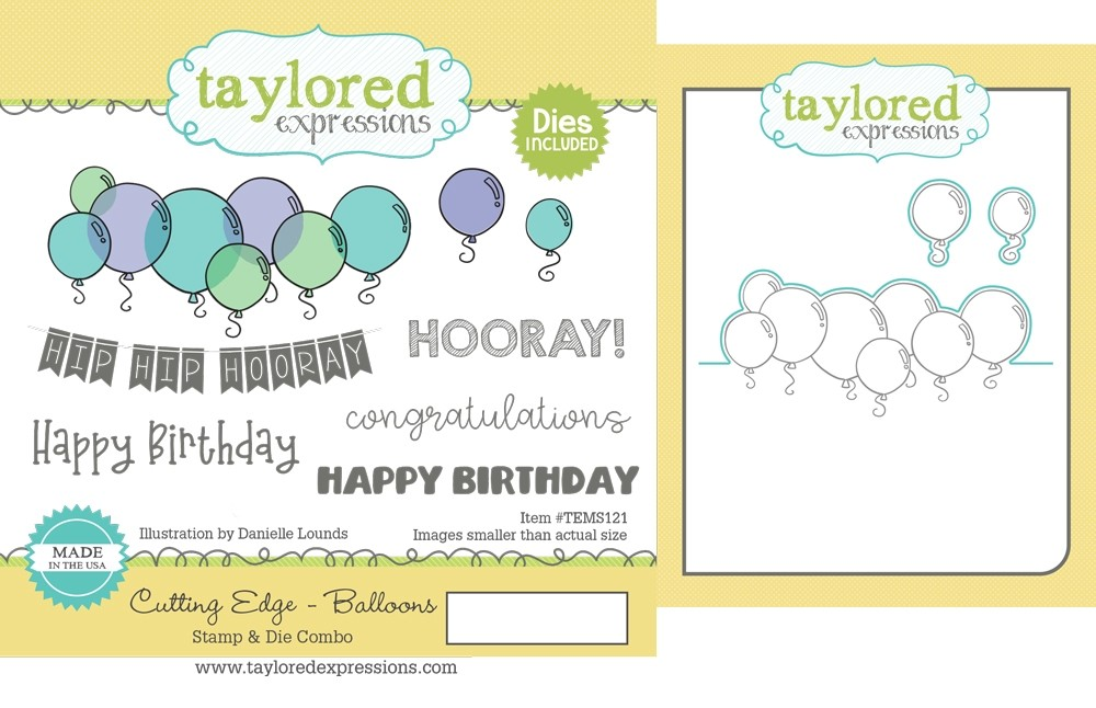 Taylored Expression - Cutting Edge - Balloons Stamp & Die Combo