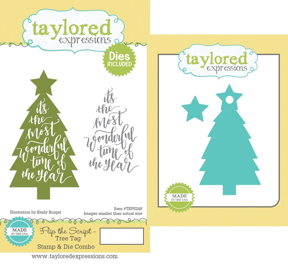 Taylored Expression - Flip the Script - Tree Tag Stamp & Die Combo