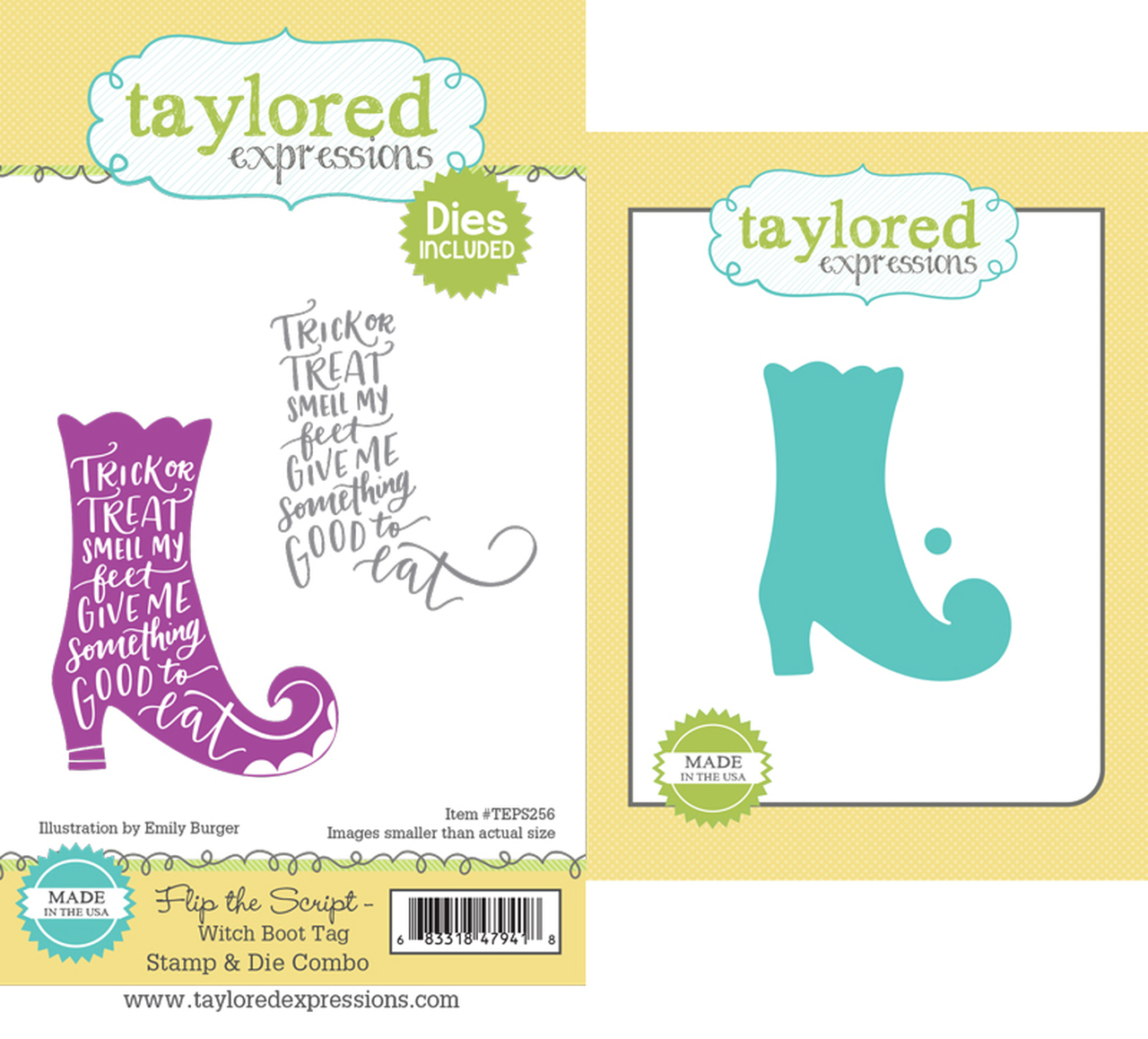Taylored Expression - Flip the Script - Witch Boot Tag Stamp & Die Combo