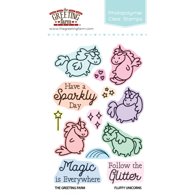 *NEW* - The Greeting Farm - Fluffy Unicorns - Clear